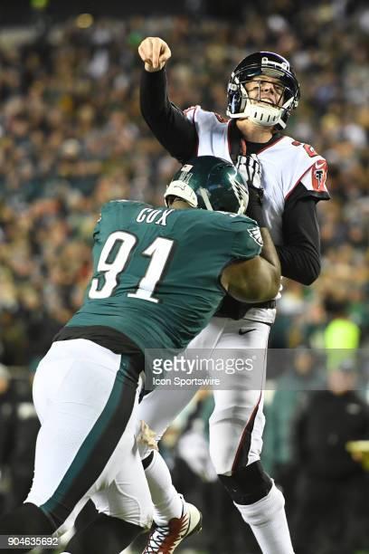 Philadelphia Eagles defensive tackle Fletcher Cox hurries Atlanta Falcons quarterback Matt Ryan during the NFC Divisional Playoff game between the...