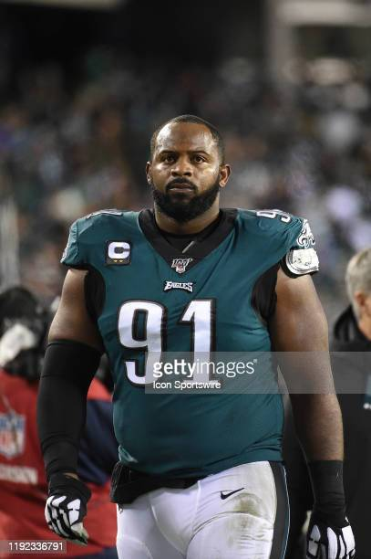 Philadelphia Eagles defensive tackle Fletcher Cox looks on during the Playoff game between the Seattle Seahawks and the Philadelphia Eagles on...
