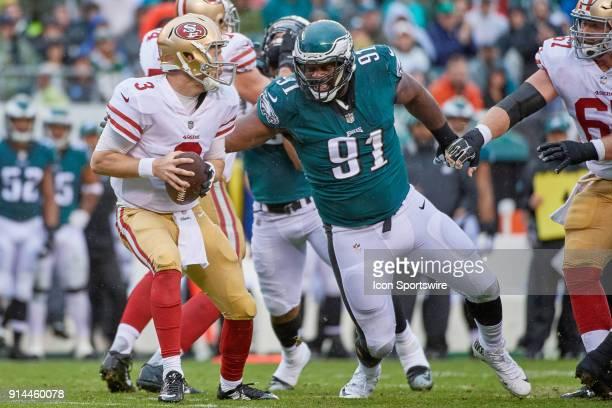 Philadelphia Eagles defensive tackle Fletcher Cox pressures San Francisco 49ers quarterback CJ Beathard during the NFL football game between the San...