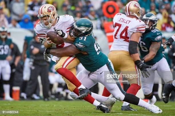 Philadelphia Eagles defensive tackle Fletcher Cox sacks San Francisco 49ers quarterback CJ Beathard during the NFL football game between the San...
