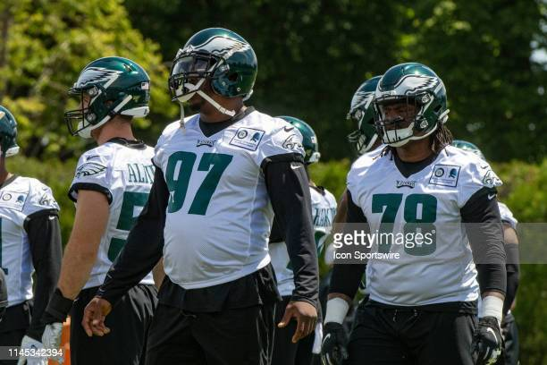 Philadelphia Eagles defensive tackle Malik Jackson warms up during the Philadelphia Eagles OTA on May 21 2019 at the Novacare Training Complex in...