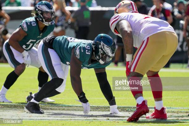 Philadelphia Eagles defensive tackle Milton Williams waits for the snap during the game between the Philadelphia Eagles and the San Fransisco 49ers...