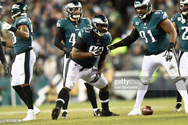 Philadelphia Eagles defensive tackle Timmy Jernigan celebrates a tackle during the Playoff game between the Seattle Seahawks and the Philadelphia...