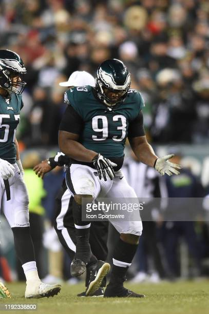 Philadelphia Eagles defensive tackle Timmy Jernigan celebrates during the Playoff game between the Seattle Seahawks and the Philadelphia Eagles on...