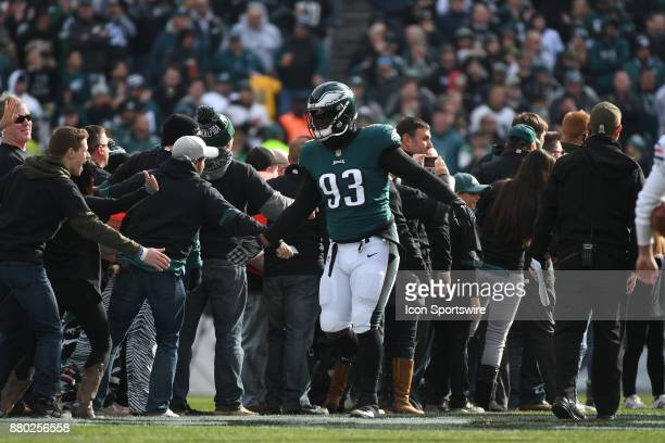 Philadelphia Eagles defensive tackle Timmy Jernigan shakes hands with fans during a NFL football game between the Chicago Bears and the Philadelphia...