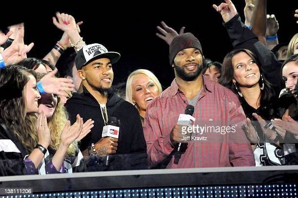 Philadelphia Eagles DeSean Jackson and Chicago Bears Matt Forte speak onstage during VH1's Super Bowl Fan Jam at Indiana State Fairgrounds Pepsi...