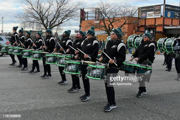 Philadelphia Eagles Drum Line marches during the Playoff game between the Seattle Seahawks and the Philadelphia Eagles on January 5 at Lincoln...