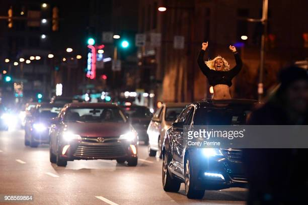Philadelphia Eagles fan celebrates downtown on North Broad Street near City Hall on January 21 2018 in Philadelphia Pennsylvania Supporters...