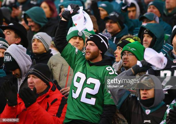 Philadelphia Eagles fan cheers as they take on the Atlanta Falcons during the first quarter in the NFC Divisional Playoff game at Lincoln Financial...