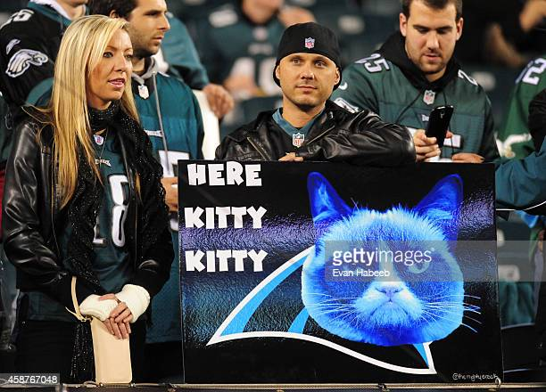 Philadelphia Eagles fan holds up a 'Here Kitty Kitty' poster prior to the game against the Carolina Panthers on November 10 2014 at Lincoln Financial...