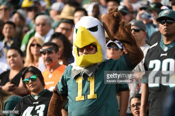 Philadelphia Eagles fan is seen during the game against the Los Angeles Rams at the Los Angeles Memorial Coliseum on December 10 2017 in Los Angeles...