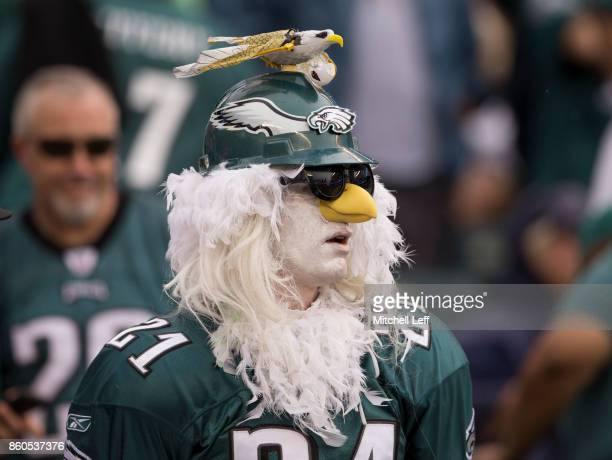 Philadelphia Eagles fan looks on against the Arizona Cardinals at Lincoln Financial Field on October 8 2017 in Philadelphia Pennsylvania