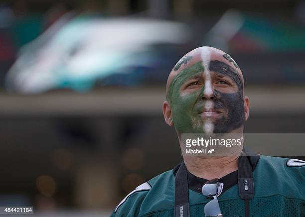 Philadelphia Eagles fan looks on during the game against the Indianapolis Colts on August 16 2015 at Lincoln Financial Field in Philadelphia...