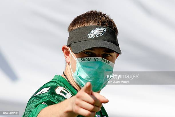 Philadelphia Eagles fan makes fun of the recent outbreak of MRSA amoung the Tampa Bay Buccaneers by wearing a mask during the game at Raymond James...