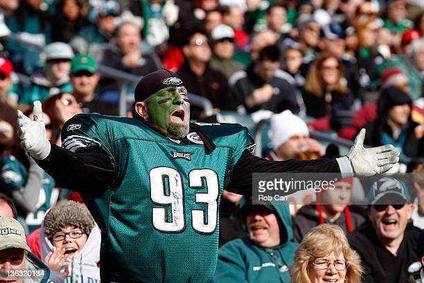 Philadelphia Eagles fan reacts to a play during the first half of the Eagles game against the Washington Redskins at Lincoln Financial Field on...