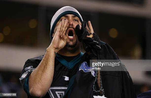 Philadelphia Eagles fan shows his displeasure after losing to the Carolina Panthers 3022 loss at Lincoln Financial Field on November 26 2012 in...