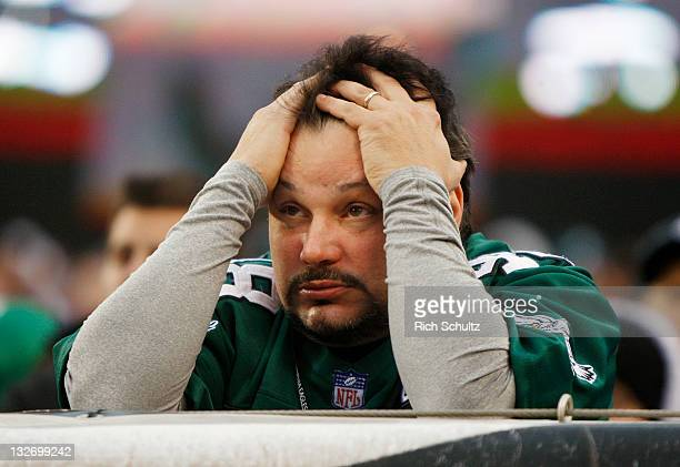 Philadelphia Eagles fan shows his frustration as the Eagles lose to the Arizona Cardinals 2117 at Lincoln Financial Field on November 13 2011 in...