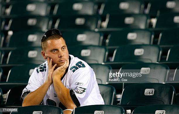 Philadelphia Eagles' fan sits dejected in the stands after their 1916 loss to the Chicago Bears at Lincoln Financial Field October 21 2007 in...