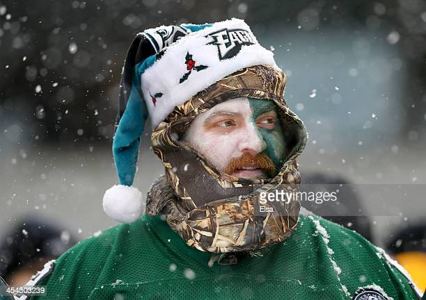 Philadelphia Eagles fan watches the game in the third quarter against the Detroit Lions on December 8 2013 at Lincoln Financial Field in Philadelphia...