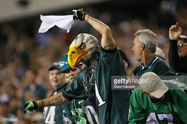 Philadelphia Eagles fan with cheers during the game against the Green Bay Packers on October 2 2006 at Lincoln Financial Field in Philadelphia...
