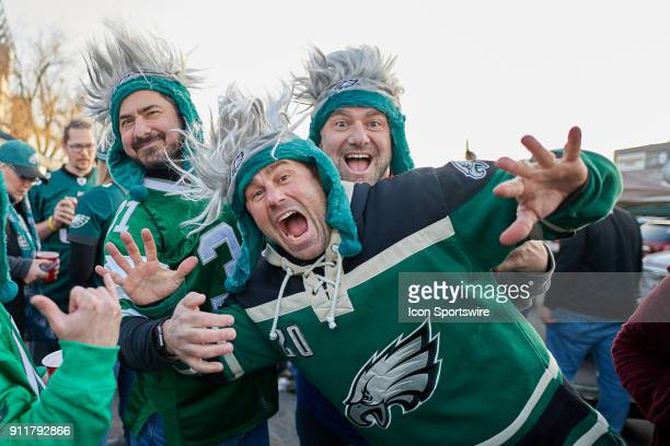 Philadelphia Eagles fans are seen celebrating during the NFC Championship Game between the Minnesota Vikings and the Philadelphia Eagles on January...