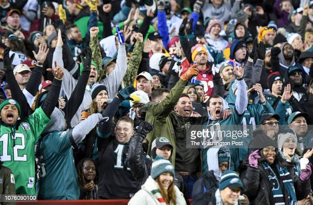 Philadelphia Eagles fans celebrate a second quarter touchdown against the Washington Redskins at FedEx Field