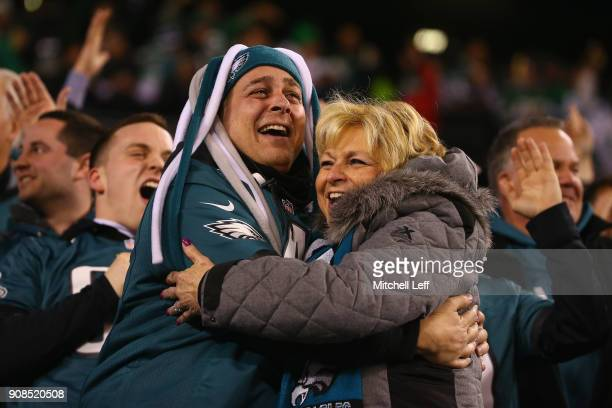 Philadelphia Eagles fans celebrate during the second quarter against the Minnesota Vikings in the NFC Championship game at Lincoln Financial Field on...