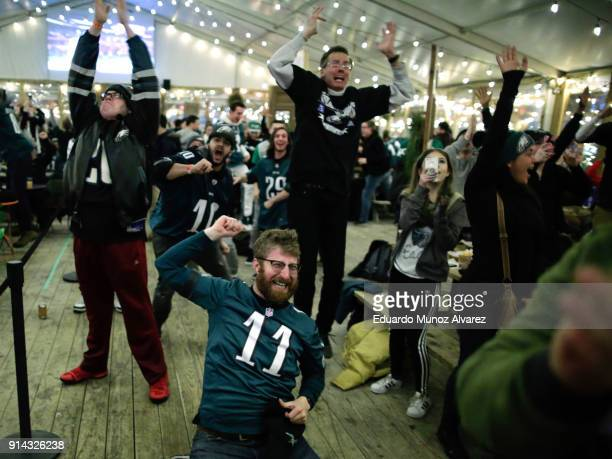 Philadelphia Eagles fans celebrate the first touchdown during the first quarter of the Super Bowl LII played between the New England Patriots and the...