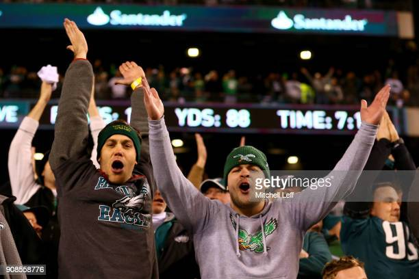 Philadelphia Eagles fans celebrate the teams win over the Minnesota Vikings in the NFC Championship game at Lincoln Financial Field on January 21...