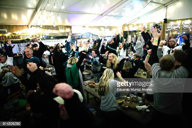 Philadelphia Eagles fans celebrate the third touchdown during the second quarter of the Super Bowl LII played between the New England Patriots and...