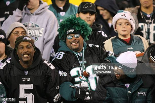 Philadelphia Eagles fans celebrate the victory after a game against the Arizona Cardinals on November 27 2008 at Lincoln Financial Field in...