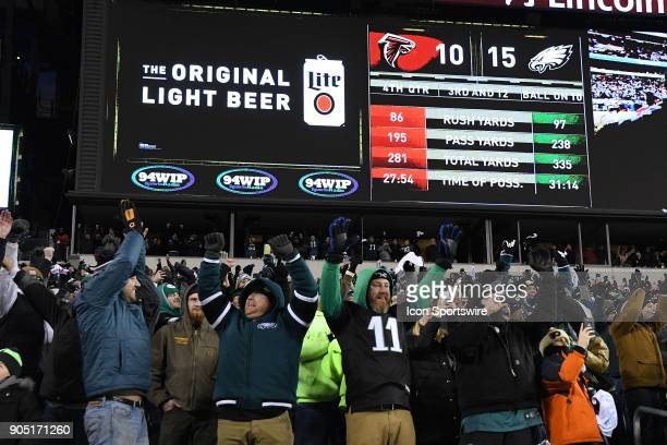 Philadelphia Eagles fans celebrate the victory during the NFC Divisional Playoff game between the Philadelphia Eagles and the Atlanta Falcons on...