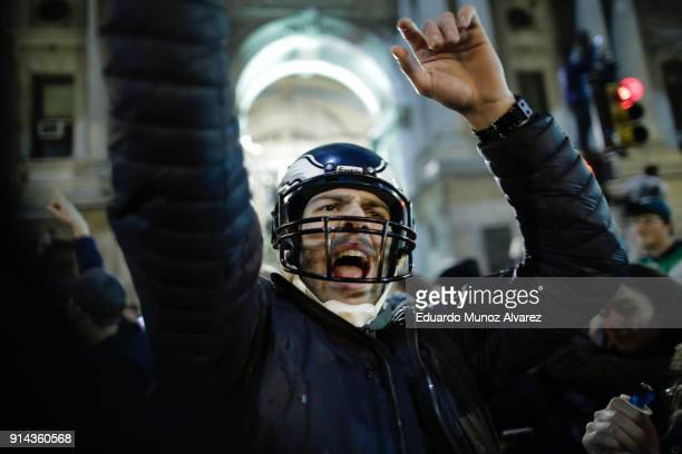 Philadelphia Eagles fans celebrate victory in Super Bowl LII against the New England Patriots on February 4 2018 in Philadelphia Pennsylvania