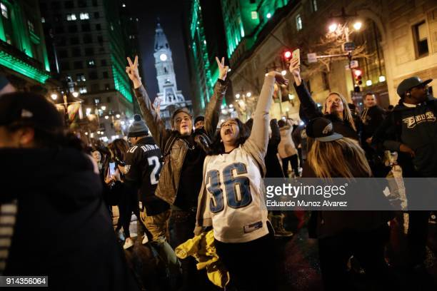 Philadelphia Eagles fans celebrates their victory in Super Bowl LII against the New England Patriots on February 4 2018 in Philadelphia Pennsylvania