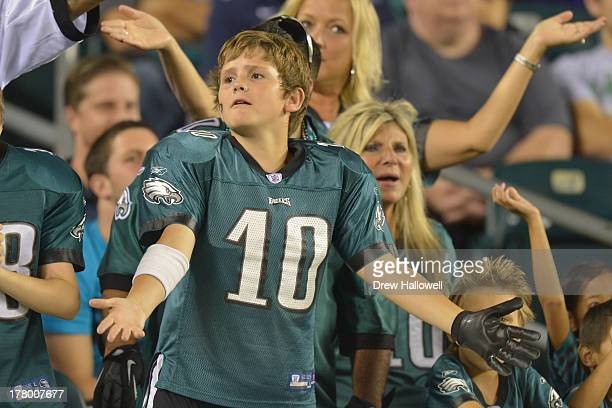Philadelphia Eagles fans cheer against the Carolina Panthers at Lincoln Financial Field on August 15 2013 in Philadelphia Pennsylvania The Eagles won...