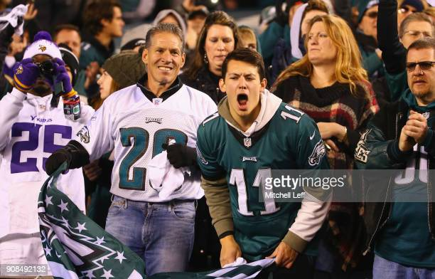 Philadelphia Eagles fans cheer on their team in the NFC Championship game against the Minnesota Vikings at Lincoln Financial Field on January 21 2018...