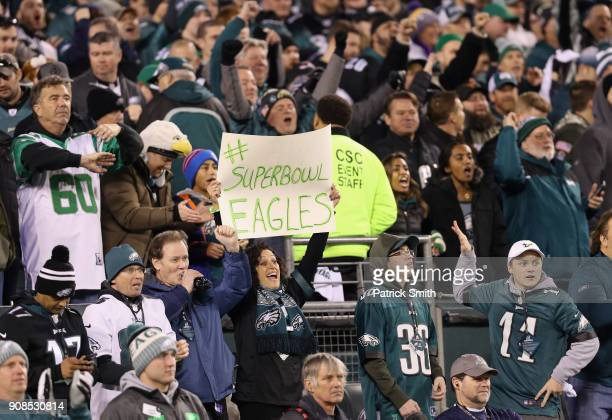 Philadelphia Eagles fans cheer their team in the NFC Championship game against the Minnesota Vikings at Lincoln Financial Field on January 21 2018 in...