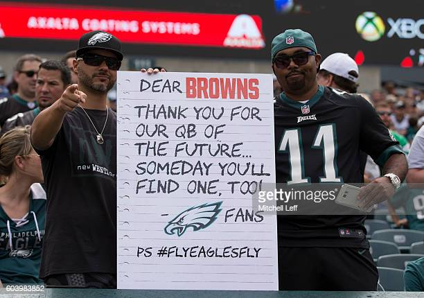 Philadelphia Eagles fans hold up a sign prior to the game against the Cleveland Browns at Lincoln Financial Field on September 11 2016 in...
