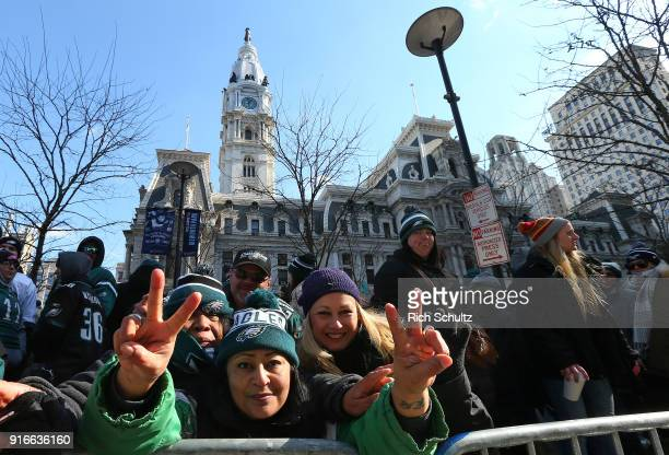 Philadelphia Eagles fans line up in front of City Hall during the team's Super Bowl Victory Parade on February 8 2018 in Philadelphia Pennsylvania
