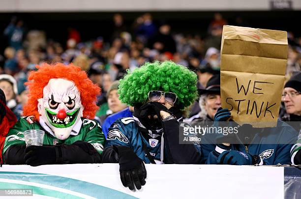 Philadelphia Eagles fans look on during their game against the Carolina Panthers at Lincoln Financial Field on November 26 2012 in Philadelphia...