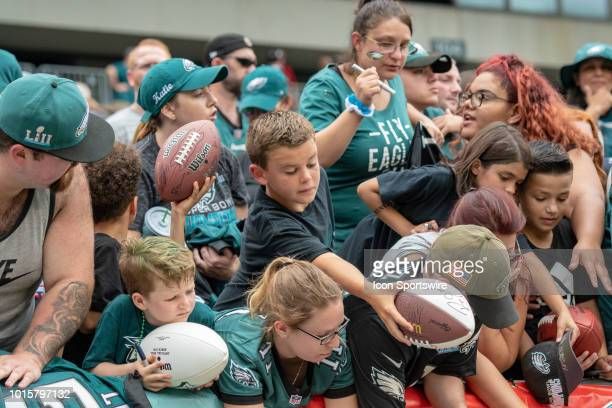 Philadelphia Eagles fans seek autographs during Eagles Training Camp on August 11 2018 at Lincoln Financial Field in Philadelphia PA