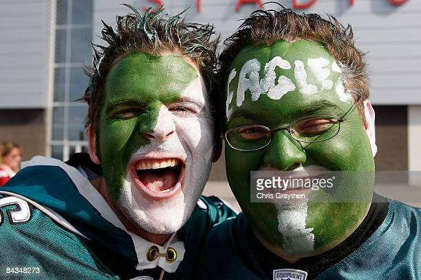 Philadelphia Eagles fans stand outside the stadium prior to the NFC championship game between the Arizona Cardinals and the Philadelphia Eagles on...