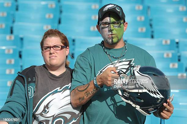 Philadelphia Eagles fans watch before the game against the Jacksonville Jaguars at EverBank Field on August 24 2013 in Jacksonville Florida The...