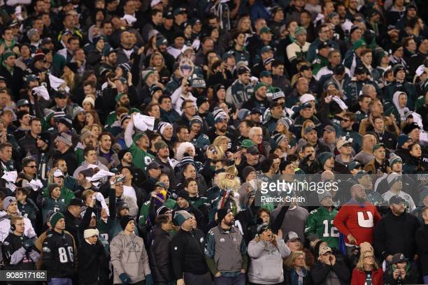 Philadelphia Eagles fans watch their team in the NFC Championship game against the Minnesota Vikings at Lincoln Financial Field on January 21 2018 in...