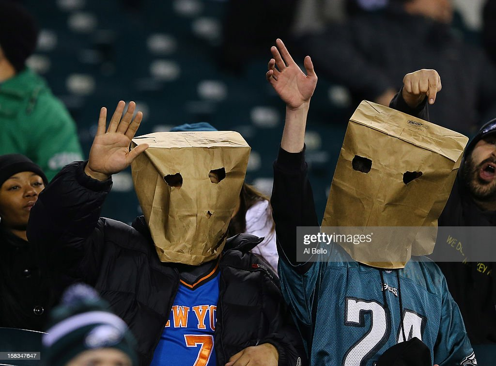 info for 8b9a8 03cd6 Philadelphia Eagles fans wear paper bags on their heads ...
