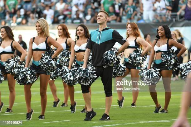 Philadelphia Eagles first male cheerleader performs during the Eagles Training camp on August 4 2019 at Lincoln Financial Field in Philadelphia PA