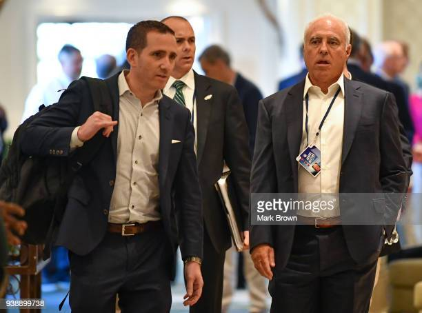 Philadelphia Eagles General Manager Howie Roseman and owner Jeffrey Lurie attend the 2018 NFL Annual Meetings at the Ritz Carlton Orlando Great Lakes...
