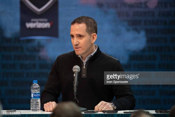 Philadelphia Eagles general manager Howie Roseman answers questions from the media during the NFL Scouting Combine on February 27 2019 at the Indiana...