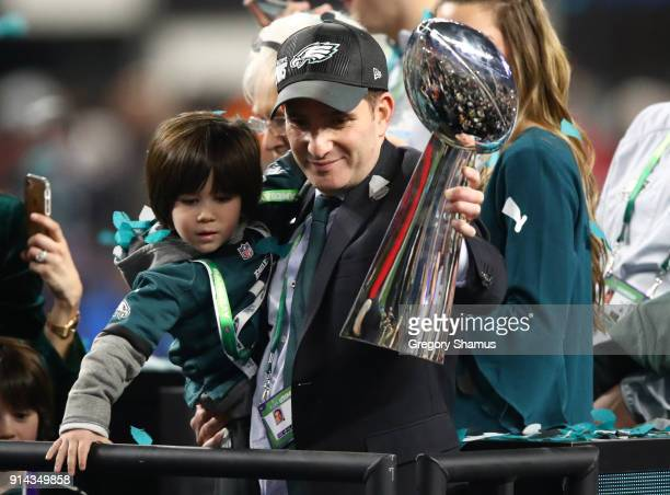 Philadelphia Eagles General Manager Howie Roseman holds the Lombardi Trophy after defeating the New England Patriots 4133 in Super Bowl LII at US...