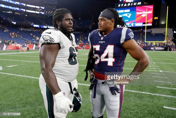 Philadelphia Eagles guard Chance Warmack and New England Patriots linebacker Dont'a Hightower after a preseason NFL game between the New England...